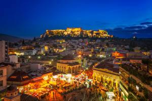 Картинка Греция Здания Вечер Городская площадь Athens Attica Города