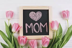 Картинка Праздники Тюльпаны Доски Сердечко Розовый Цветы