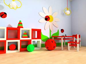Обои Интерьер Детская комната Дизайн Мяч 3D Графика картинки