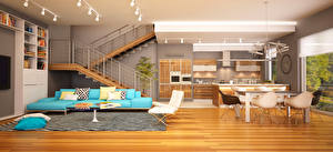 Обои Интерьер Дизайн Гостиная Диван Лестница 3D Графика