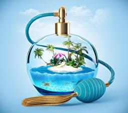 Фотография Остров Креатив Бутылка Дизайн 3D Графика