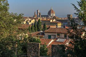 Фото Италия Флоренция Тоскана Дома Крыша Города