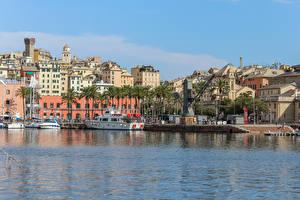 Фотографии Италия Здания Речка Пирсы Речные суда Genova Города