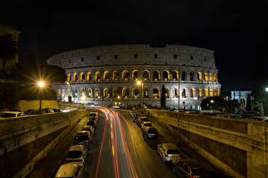 Картинки Италия Рим Колизей Вечер Дороги Уличные фонари Города
