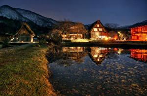 Фотографии Япония Здания Пруд Деревня Ночные Shirakawa-mura