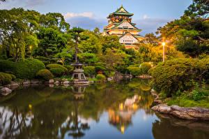 Фото Япония Парки Пруд Киото Замки Кусты Уличные фонари Дизайн Osaka Castle park Природа