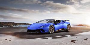 Фотография Lamborghini Синих Родстер 2018 Huracán Perfomante Spyder Worldwide Автомобили