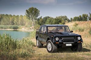 Обои Ламборгини Винтаж Черный 1990-92 LM002 Авто