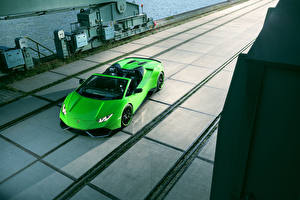 Обои Lamborghini Салатовый Родстер 2016 Novitec Torado Huracán LP 610-4 Spyder автомобиль
