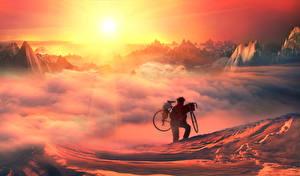 Фото Мужчины Велосипед Солнце Облака Спорт