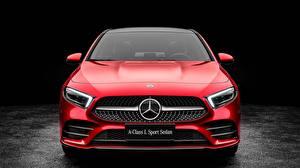 Фотографии Mercedes-Benz Спереди Красный Седан 2019 L Sport A200 A-Class машины