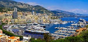 Фотографии Монако Дома Пристань Корабли Горы Яхта Заливы Города