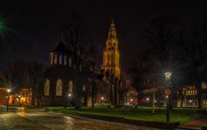 Фотография Нидерланды Храмы Церковь Ночные Уличные фонари Groningen город