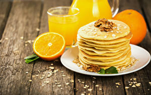Картинки Блины Орехи Апельсин Доски Тарелка Пища