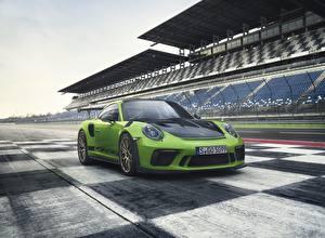 Картинка Порше Металлик Зеленый 2018 911 GT3 RS Worldwide Автомобили