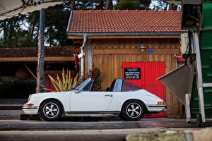 Картинки Porsche Старинные Белых Кабриолета Сбоку 1969-71 911 S 2.2 Targa машина