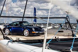 Фотографии Порше Винтаж Синие 1995-97 911 Carrera RS 3.8 Coupe машины