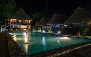 Обои Курорты Здания Бассейны Ночь Tikal Guatemala Города