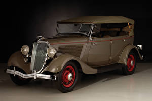 Обои Винтаж Форд Коричневый Металлик 1934 V8 Deluxe Phaeton Авто