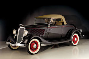 Картинка Ретро Форд Коричневый Металлик 1934 V8 Deluxe Roadster