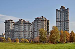 Фотография Россия Москва Здания Деревья Города