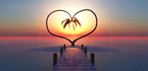 Фотография Море Пристань Рассветы и закаты Сердце Природа