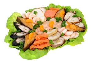 Обои Морепродукты Рыба Креветки Белый фон Еда