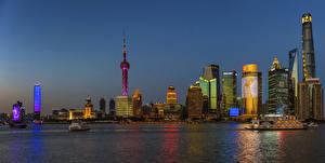 Обои Шанхай Китай Здания Вечер Берег Города