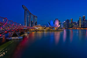 Обои Сингапур Здания Мосты Ночные Электрическая гирлянда