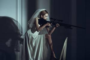Обои Снайперская винтовка Азиаты Снайперы Девушки