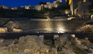 Фотография Испания Дома Крепость Камни Лестницы Ночь Malaga Andalusia Города