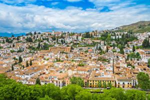 Обои Испания Дома Крыше Granada Andalusia Города