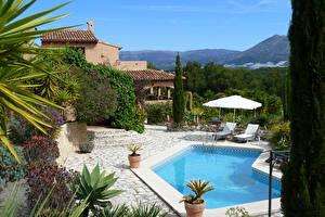 Картинка Испания Здания Вилла Плавательный бассейн Дизайн Costa Blanca
