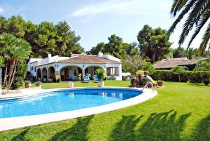 Обои Испания Вилла Здания Плавательный бассейн Газон Costa Blanca