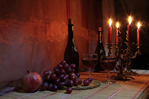 Обои Натюрморт Свечи Вино Виноград Гранат Бутылка Бокалы