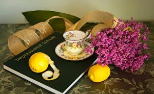 Фото Натюрморт Лимоны Чашка Книга Пища