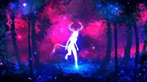 Картинки Сверхъестественные существа Силуэт Рога Хвост Deer Woman Фантастика