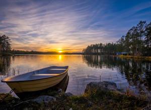 Картинки Швеция Реки Рассветы и закаты Лодки Dalarna Природа
