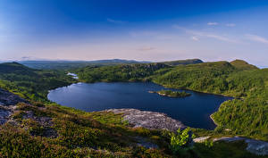 Фотографии Швеция Пейзаж Озеро Холмы Hotagen Природа