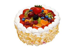 Картинка Сладкая еда Торты Ягоды Клубника Черника Малина Белом фоне Дизайна Еда