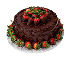 Фото Сладкая еда Торты Шоколад Клубника Белом фоне Дизайн Пища