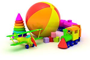 Фото Игрушки Самолеты Поезда Белый фон Мяч 3D Графика
