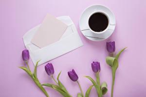 Обои Тюльпаны Кофе Цветной фон Шаблон поздравительной открытки Лист бумаги Чашка Цветы Еда
