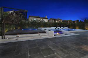 Фотографии Штаты Здания Вечер Фонтаны Калифорния Irvine Города
