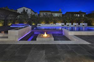 Обои Штаты Здания Фонтаны Пламя Ночные Irvine Города