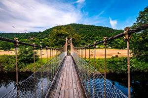 Фотографии Великобритания Мосты Поля Холмов Уэльс Conwy valley Природа
