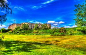 Фотографии Великобритания Замок HDR Газон Кустов Уэльс Chirk Castle Природа