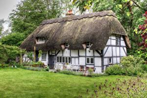 Картинка Великобритания Здания Особняк Дизайн Газон Hampshire Города