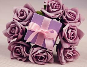 Фото День всех влюблённых Розы Подарки Бантик Цветы