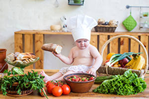 Картинки Овощи Хлеб Фрукты Помидоры Младенцы Повара Шапки Дети